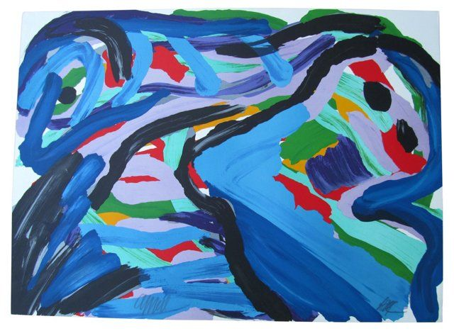 Blue Abstract Litho by Karel   Appel