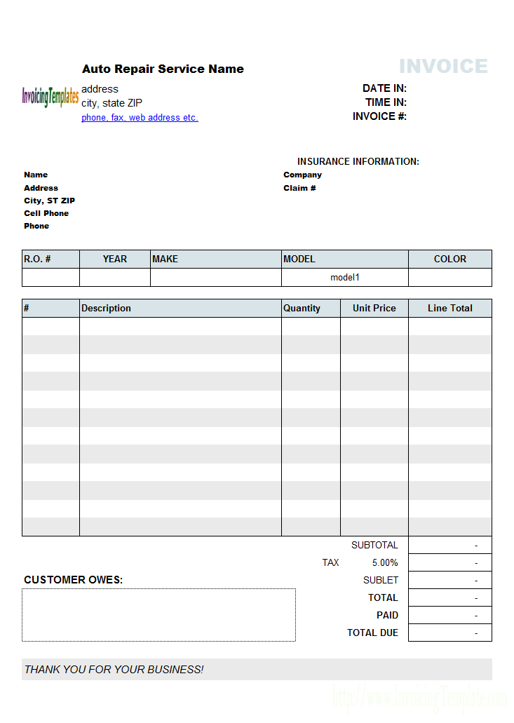 auto repair invoicing sample 2 jawed pinterest computer