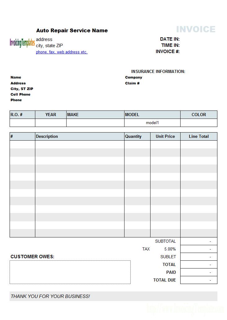 Auto Repair Invoicing Sample 2 Invoice Template Invoice
