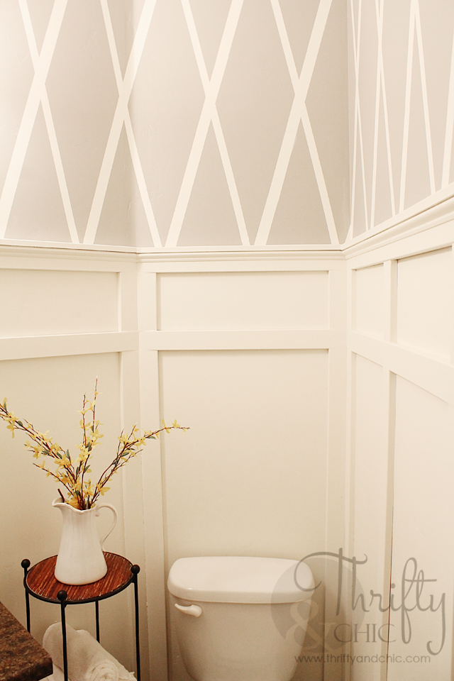 bathroom makeover with diamond pattern wall using painter. Black Bedroom Furniture Sets. Home Design Ideas