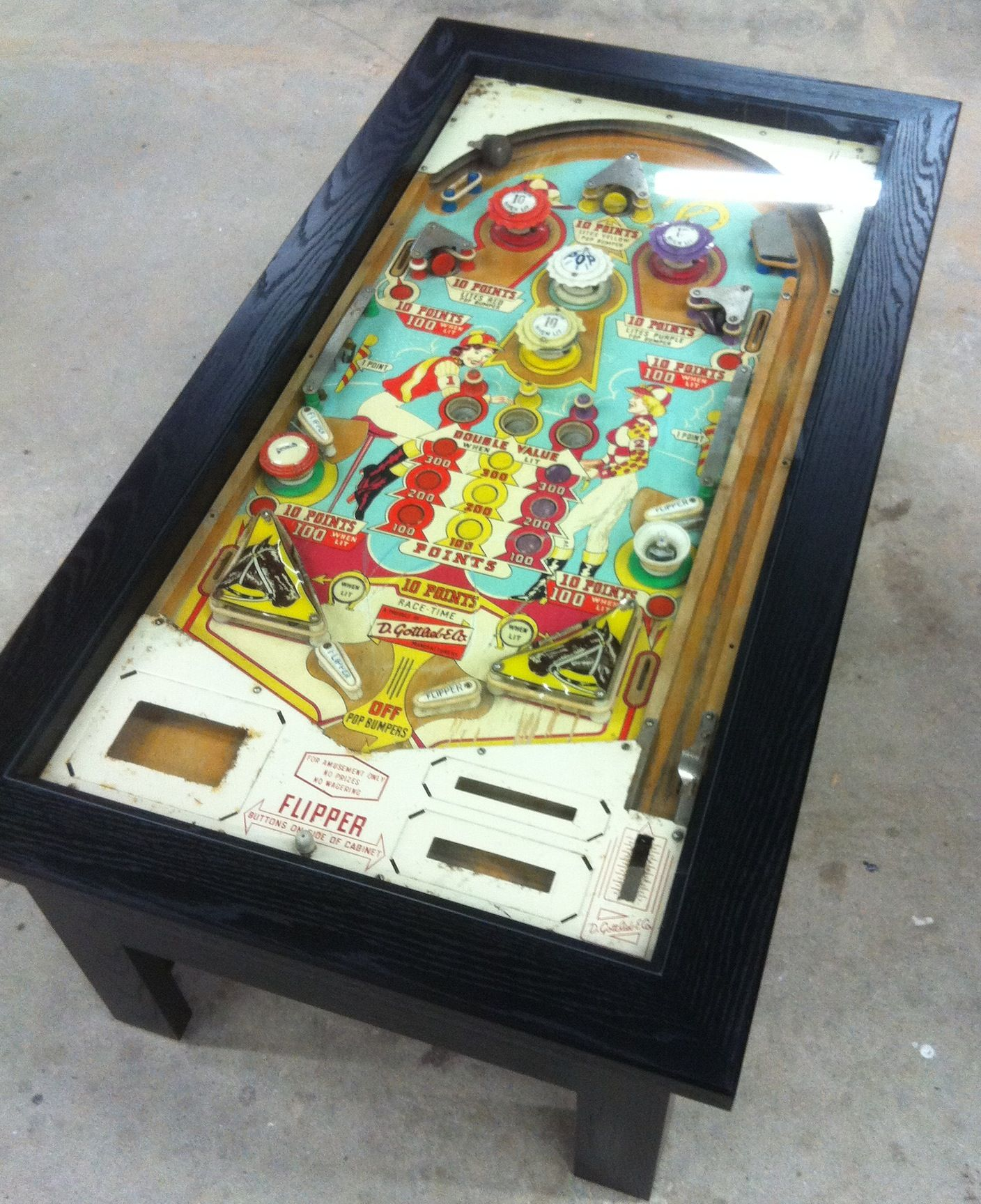 1940 s Gottlieb Playfield Racetime Modern Up cycled Pinball