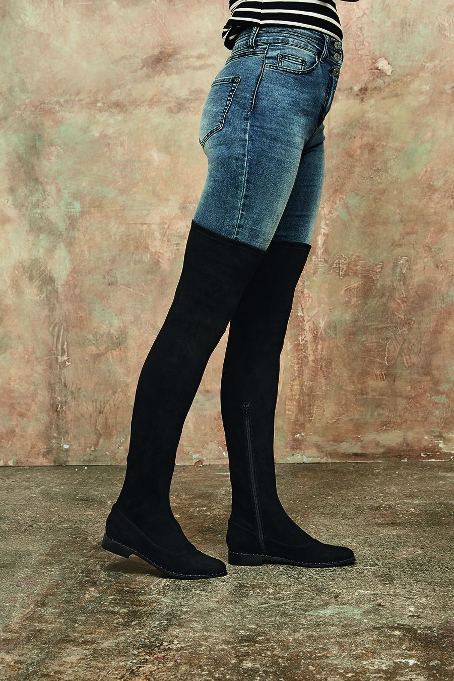 dc418bce203 Long Tall Sally Luna Studded Detail Otk Boot | Large Size Women's ...