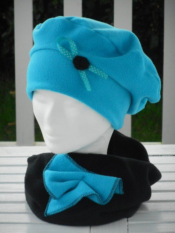 Bonnet chapeau béret et snood tour de cou écharpe  polaire bleu  turquoise enfant  confortable unique  collection hiver créateur lin eva ef82709a7d6