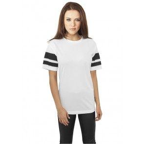 Tričko Urban Classics Ladies Stripe Mesh Tee White