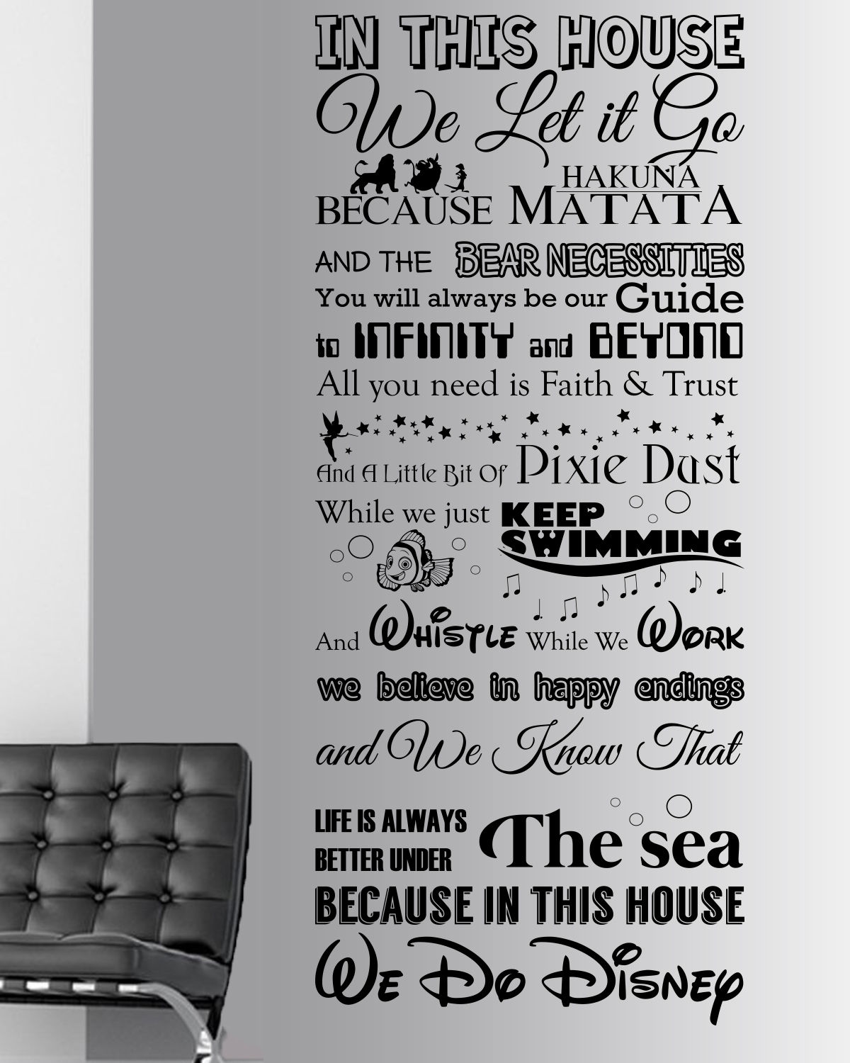 We Do Disney Style Quote In This House Rules Vinyl Wall Art Sticker