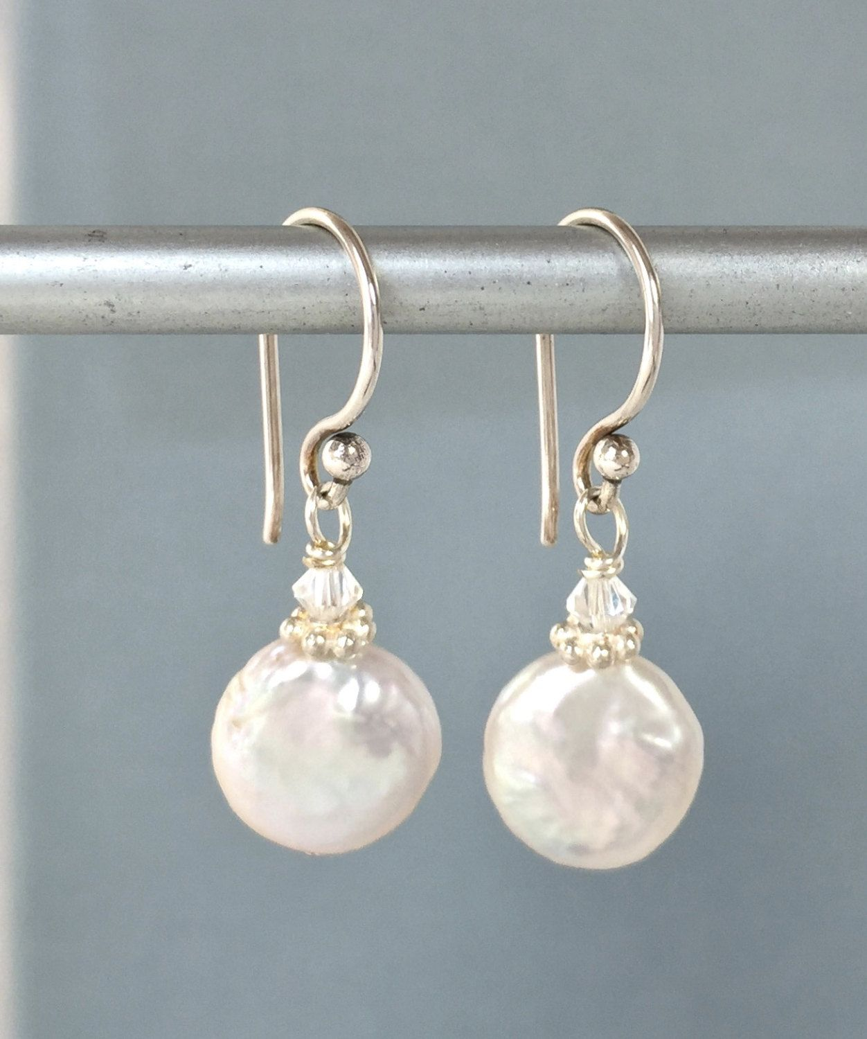 Coin Pearl Earrings  Small Coin Pearls  White Coin Pearls  Coin Pearl  Jewelry  Baroque Pearls  Freshwater Pearls  Small Pearl Earrings