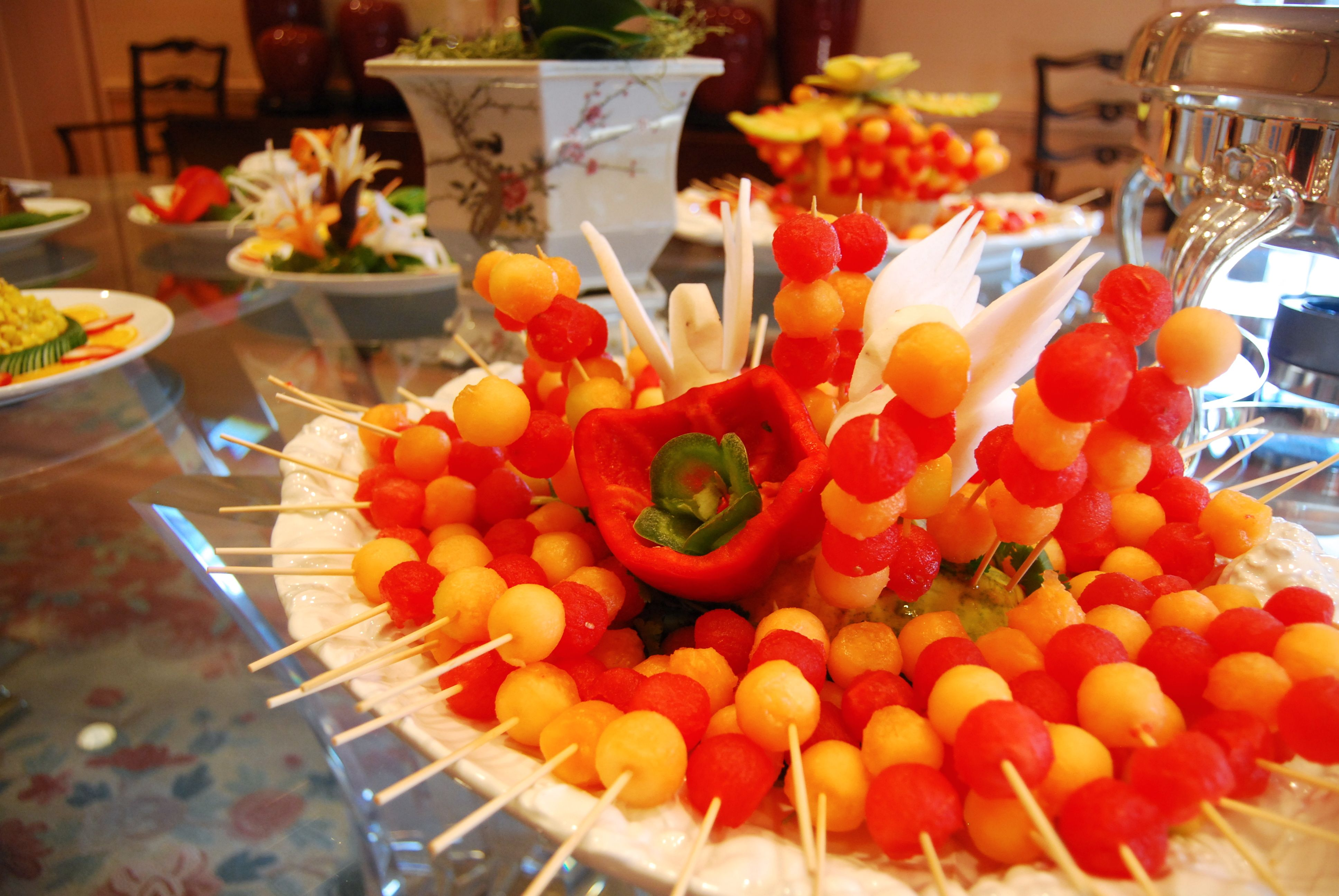 Beautiful fruit skewer platter Chinese/Asian Themed