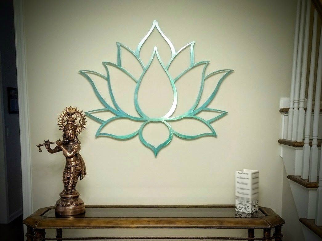 Lotus Flower Metal Wall Art Sculpture Brushed Metal W Serenity Teal Spiritual Wall Decor For Th Spiritual Wall Decor Wall Sculpture Art Metal Tree Wall Art