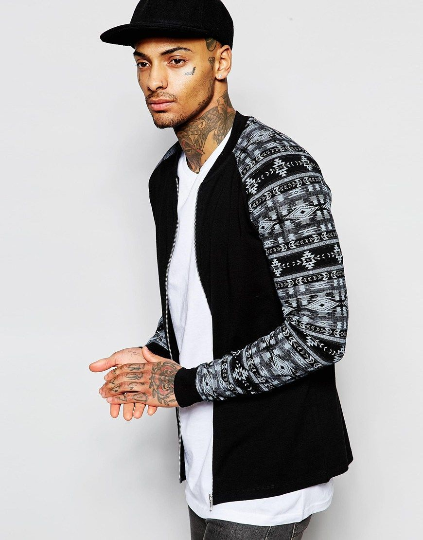 Image 1 of ASOS Jersey Muscle Bomber Jacket With Aztec Print