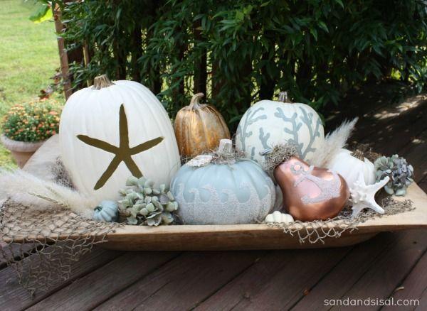 Creative Coastal Pumpkins For Chic Beach Decor Fall Decorating