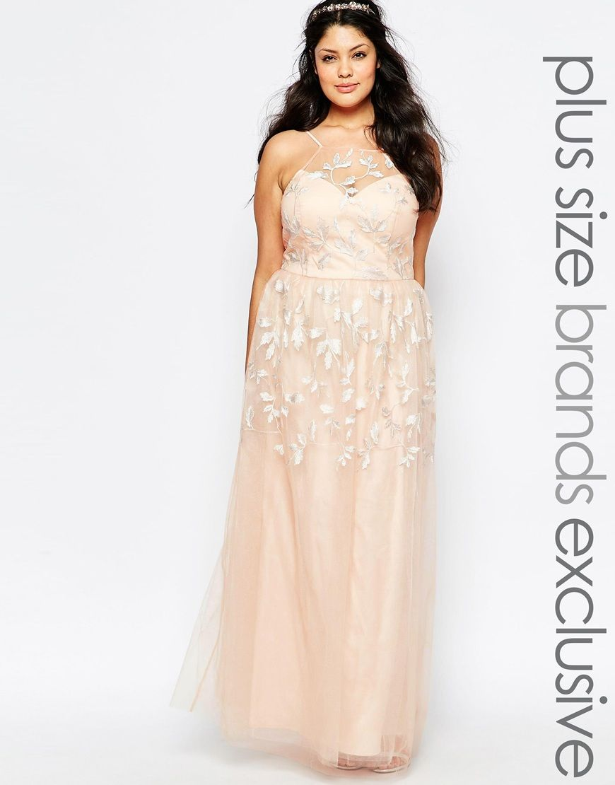 Image 1 of Chi Chi London Plus Embroidered Halter Maxi Dress