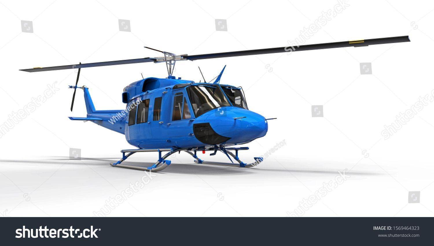 Blue small military transport helicopter on white isolated background The helicopter rescue service Air taxi Helicopter for police fire ambulance and rescue service 3d il...
