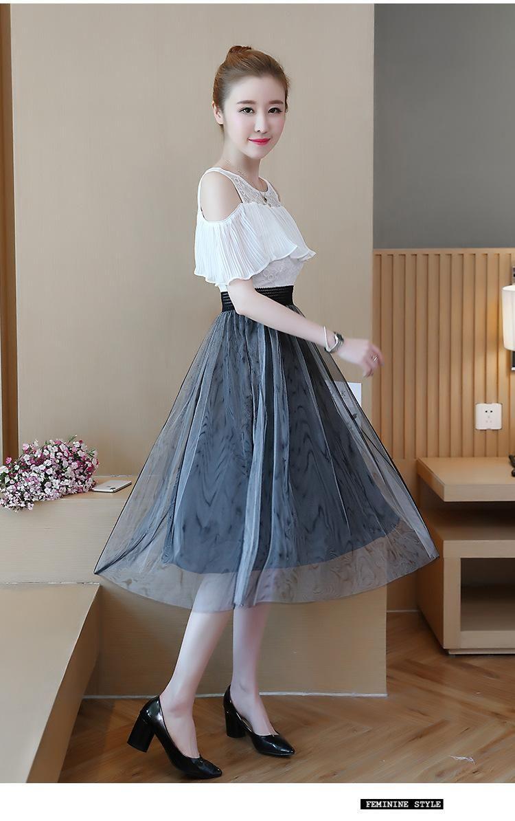 AAMILIFE 2018 Summer New Women s Dress Korean Fashion Sweet Slim Slim Round  Short Sleeved Long Skirt. - intl  434fadf38
