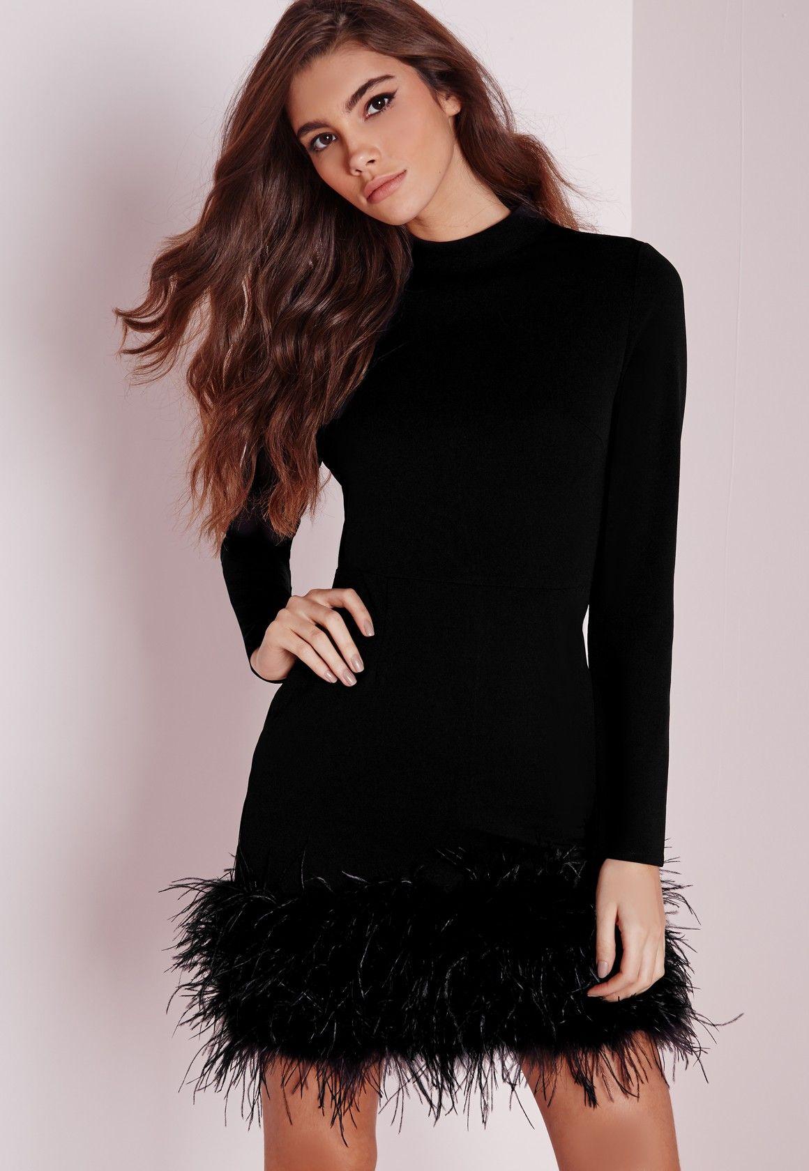 Missguided High Neck Feather Trim Bodycon Dress Black Platya [ 1680 x 1160 Pixel ]