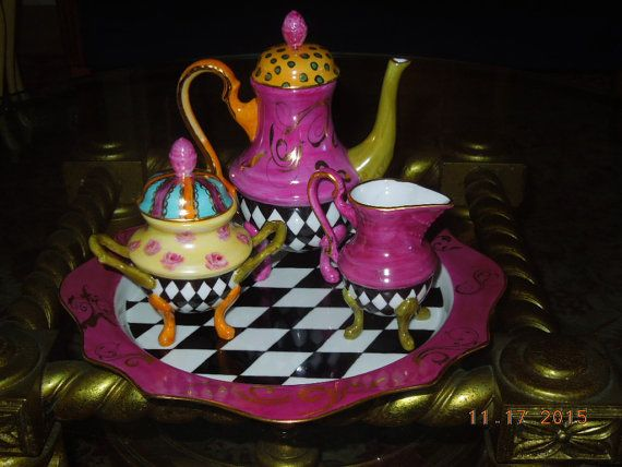 tea set ooak alice in wonderland whimsical harlequin elegance hand painted alice pinterest. Black Bedroom Furniture Sets. Home Design Ideas