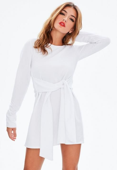 b899e54fd4d Missguided White Tie Waist Sweater Dress