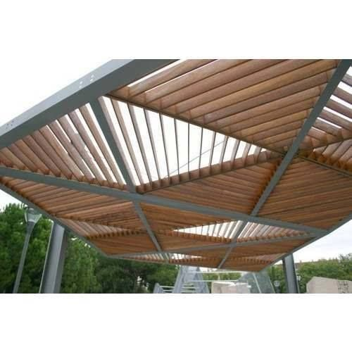 Pergola Triangle Designs: Triangles Form The Roof Of This Wood And Metal Pergola
