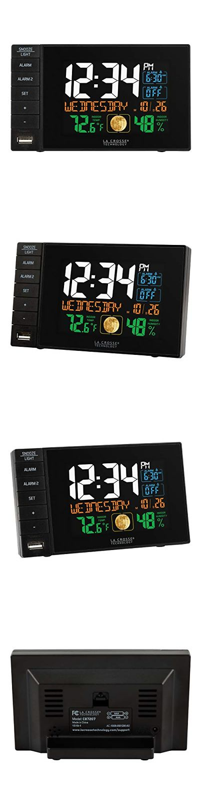 La Crosse Technology C87207 Color Dual Alarm Clock with USB Charging Port