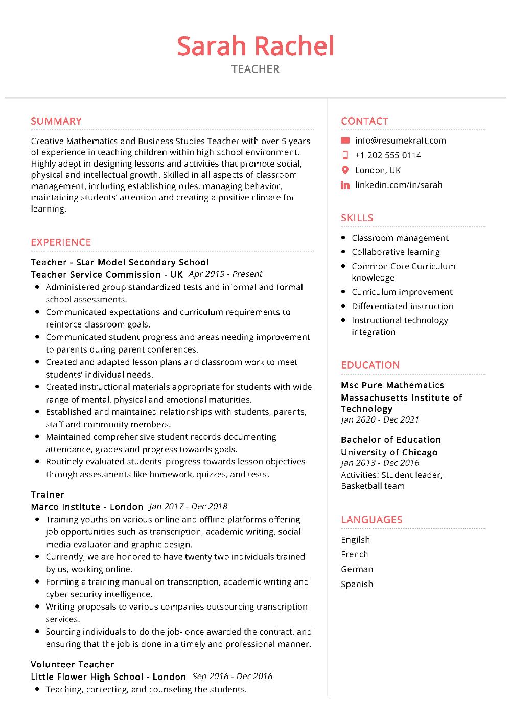 100 Professional Resume Samples For 2020 Resumekraft Teacher Resume Template Teaching Resume Teacher Resume Template Free