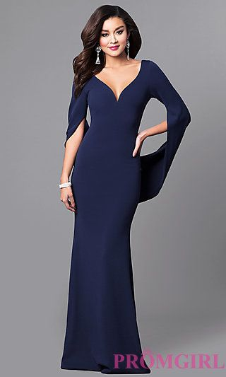 V-Neck Long Navy Blue Prom Dress with Long Sleeves at PromGirl.com ...