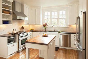 Black And White Kitchen With Butcher Block Countertops : butcher block island, black countertops with white cabinets and backsplash Rebuild: Kitchen ...