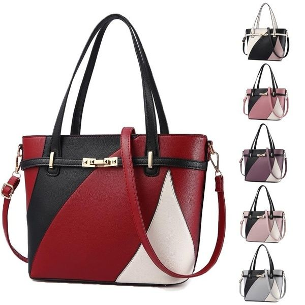 f4f7eb28e717 Women Patchwork Leather Handbags Shoulder Bag Women's Fashion Totes ...