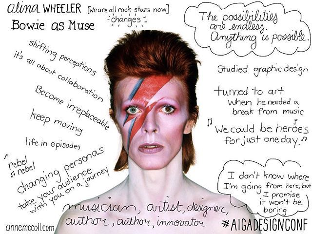 Alina Wheeler on #davidbowie as muse  #aigadesignconf #sketchnotes #design