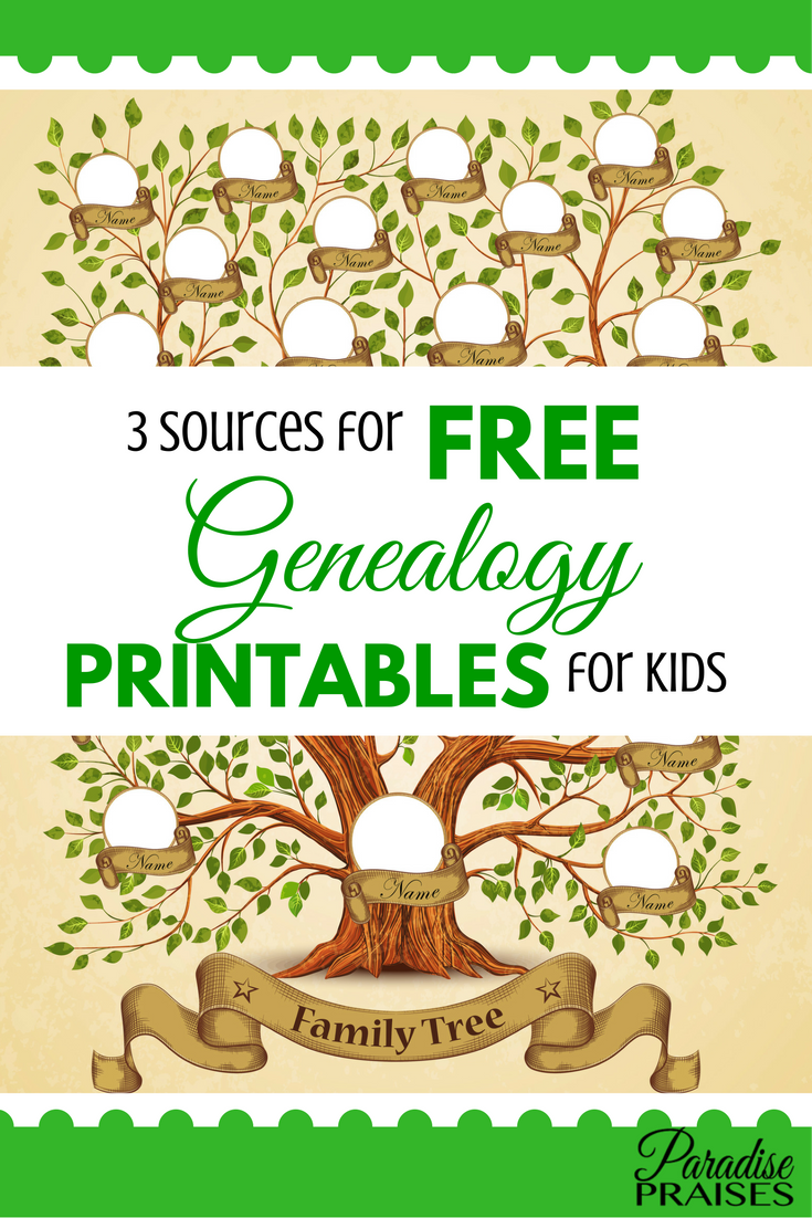 3 Sources For Free Genealogy Printables For Kids Pinterest Free