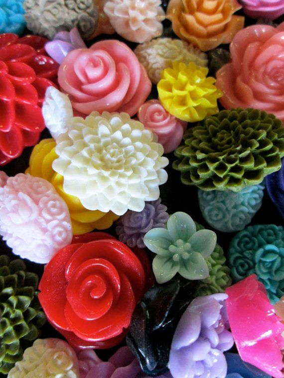 500pc. wholesale flower cabochon mix grab bag of cute Kawaii | Etsy
