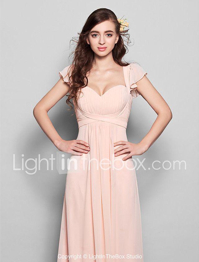 Linha A Decote Princesa Longo Chiffon Vestido de Madrinha com ...