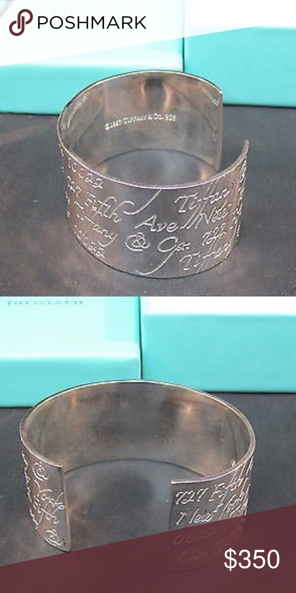 034aabc5589d1 1997 Tiffany notes cuff bracelet .925 silver auth Tiffany & co notes ...