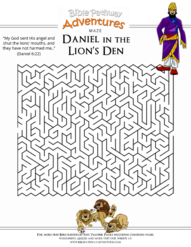 Worksheet Kindergarten Daniel 6: bible maze puzzle daniel and the lions kate pinterest maze ,