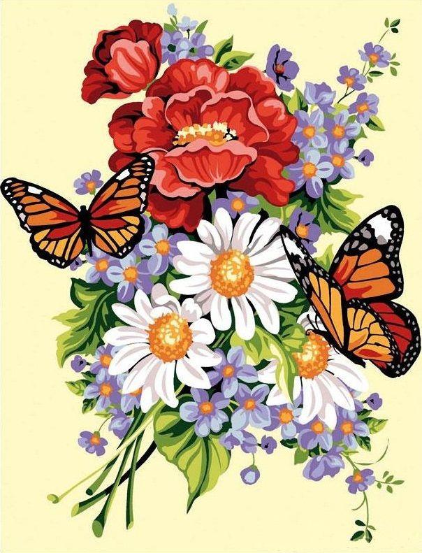 цветы и бабочки   картинки для квиллинга   Вышивка, Цветы ...