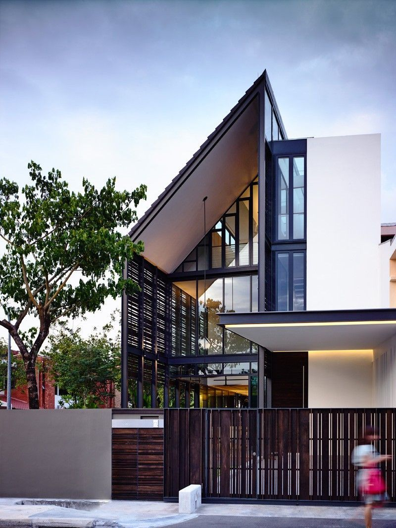 Hyla architects have designed  lines of light  storey corner terrace house with an attic in singapore also rh pinterest