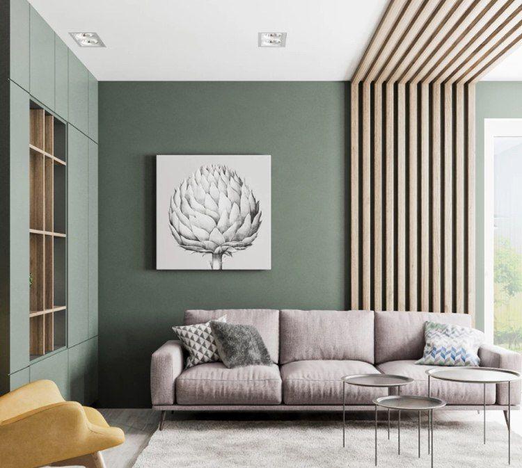 Grüne Wand im Wohnzimmer – Ein wahrer Eyecatcher!