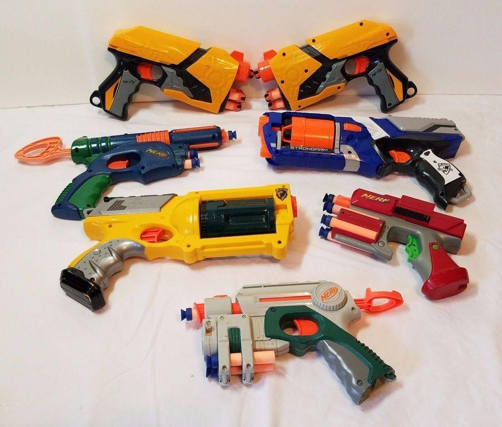 7 Nerf Guns Lot Strongarm N Strike Pistol Dart Tag Maverick Rev 6 Blaster  Pistol #