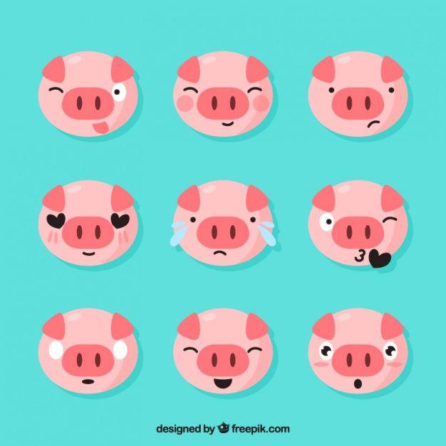 Set of piglet emoticons Vector   Free Download