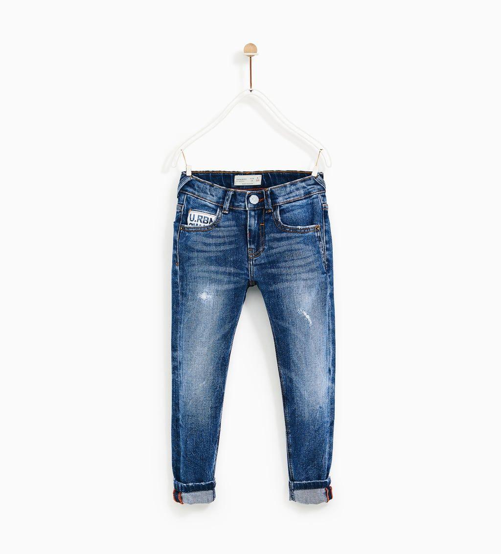 Embroidered Jeans With Zip Detail Jeans Boy 5 14 Years Kids Zara Serbia Estilo Denim Ropa Pantalones Jeans
