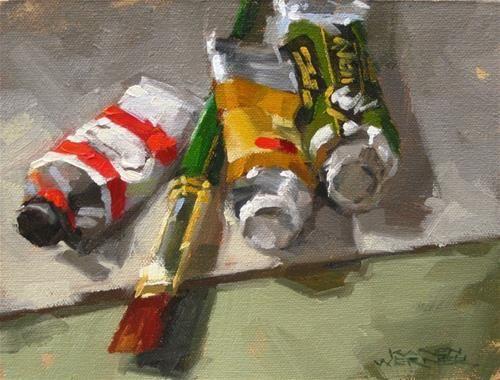 """Daily Paintworks - """"Oil Tubes & Brush"""" - Original Fine Art for Sale - © Karen Werner"""