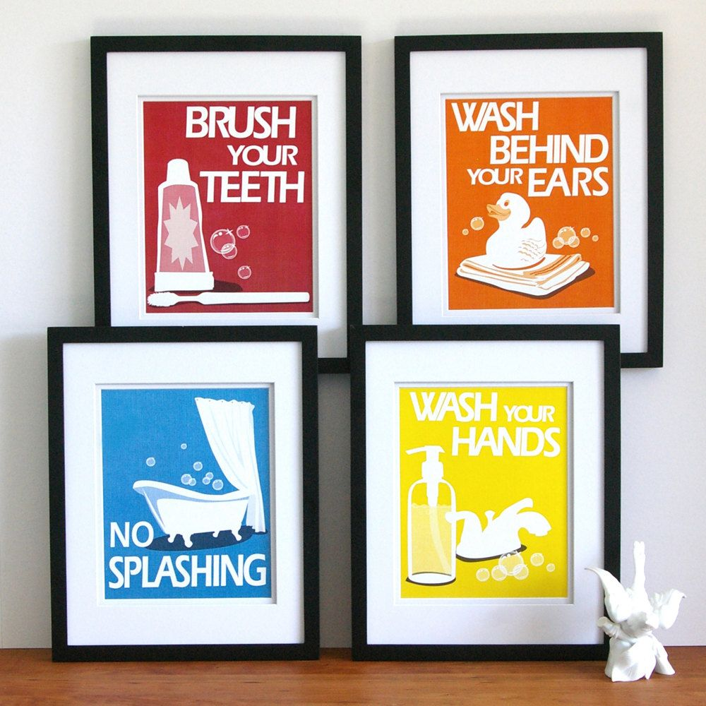 Children S Bathroom Art Prints By Paper Llamas