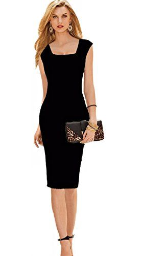 emmarcon Mini Abito Elegante Tubino da Donna Vestito Cerimonia party-Black -IT44 XL bf269154b3a
