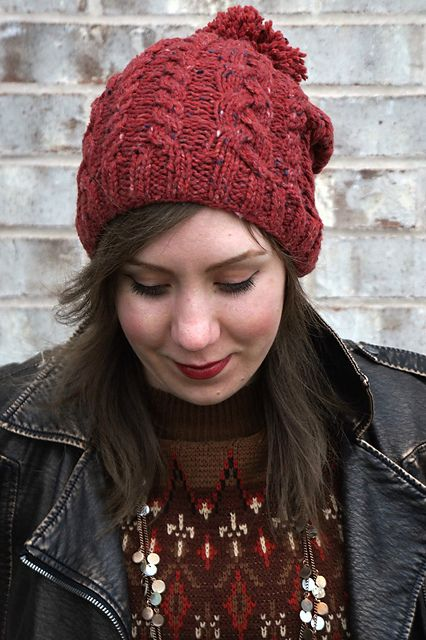 Knitting Patterns Galore - Slouchy Cable Hat with Pom-Pom  d7cf9986793
