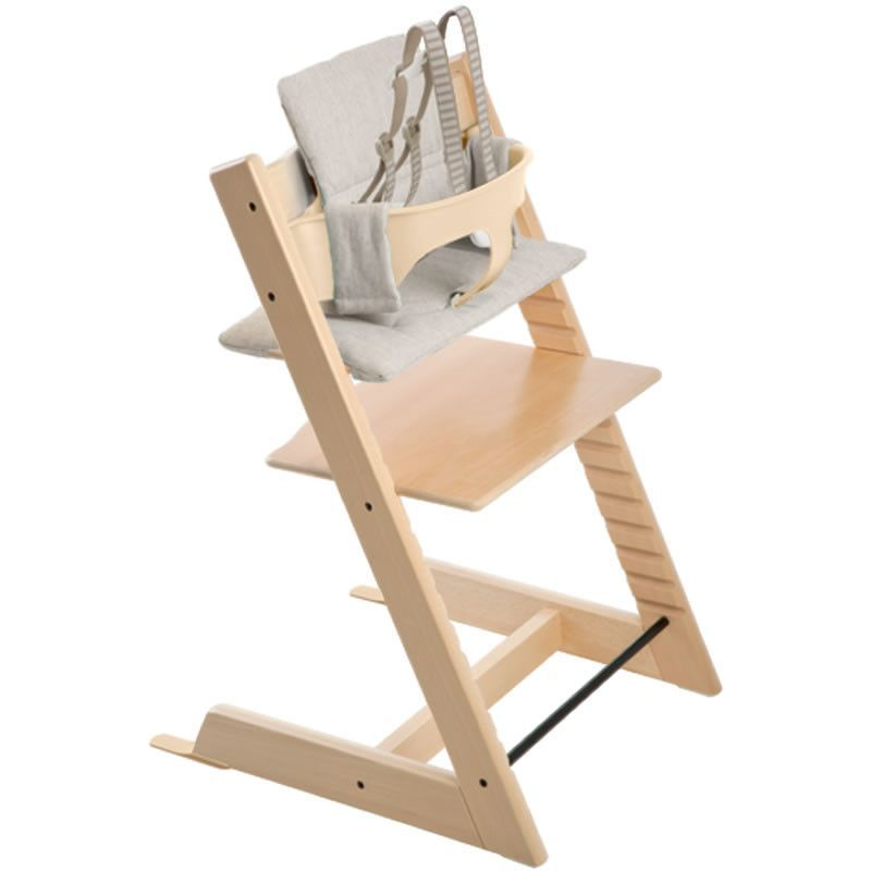 Stokke Tripp Trapp Chair With Baby Set and Grey Loom Cushion, Natural