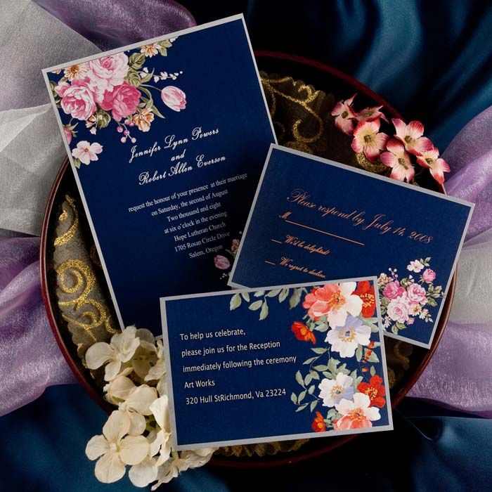 Fall Vintage Wedding Ideas: Elegant Peony Navy Blue Printable Vintage Wedding