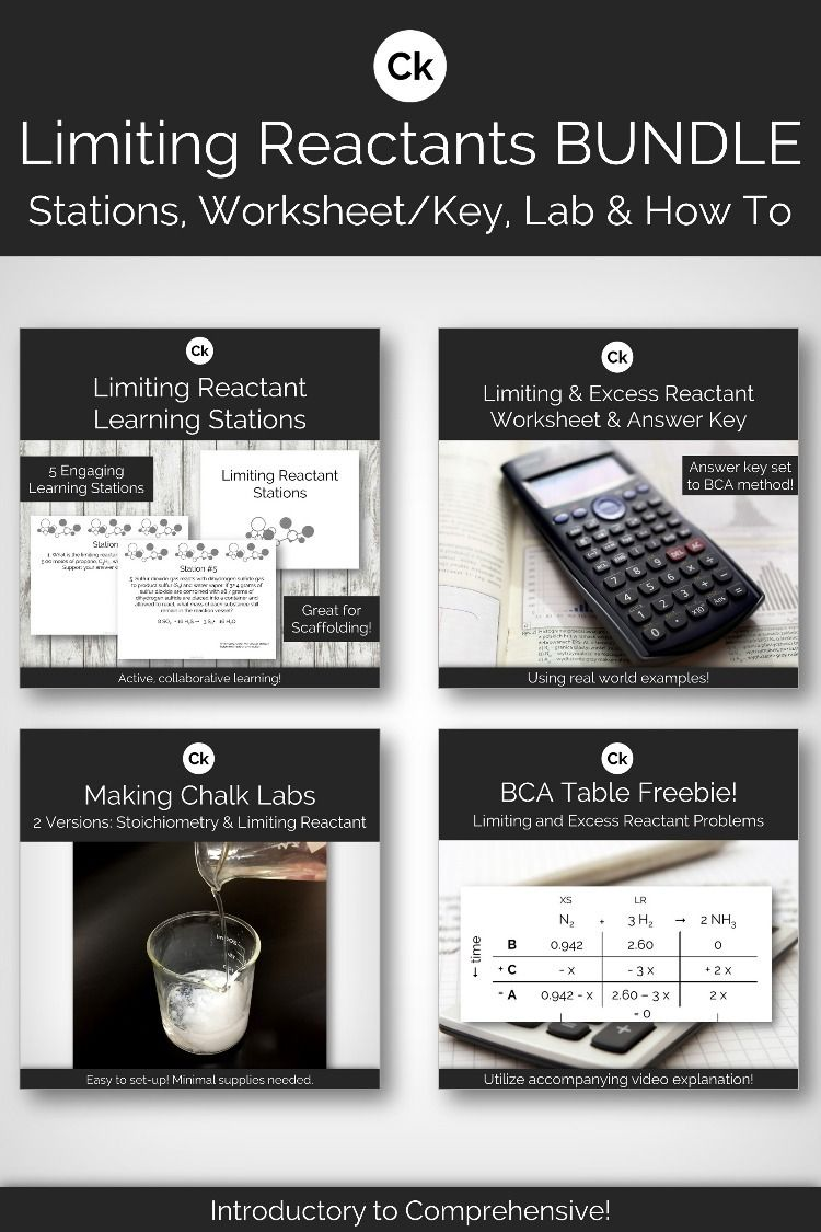 Limiting Reactant Bundle Learning Stations Learning Activities Teaching Chemistry