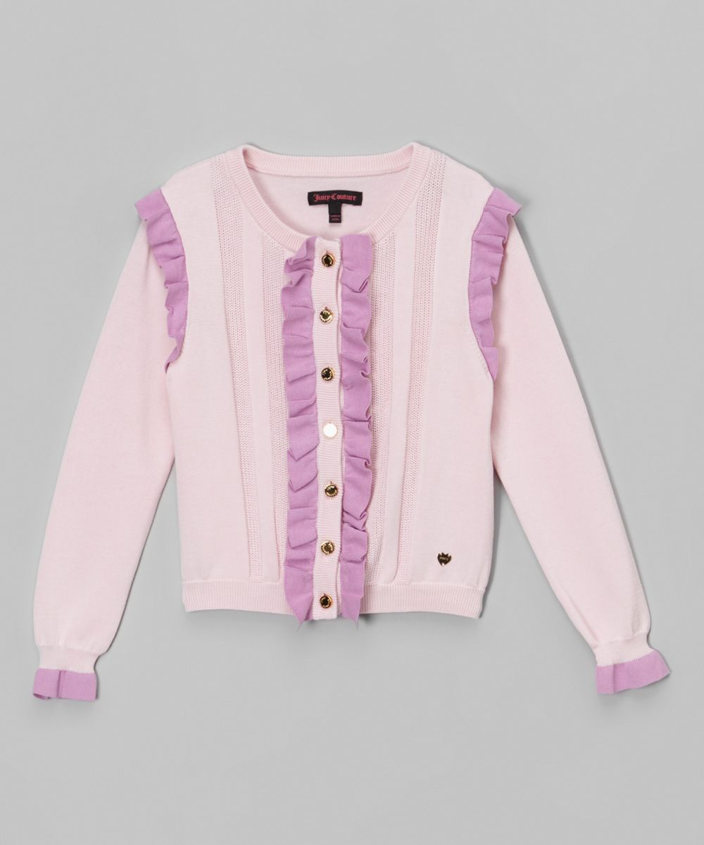 Whisper Pink Textured Ruffle Cardigan - Girls