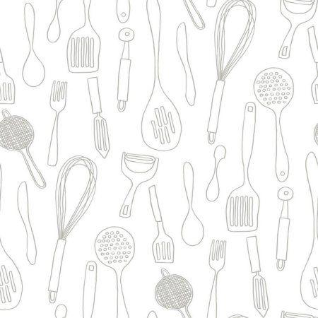York Wallcoverings Bistro 750 Kitchen Contours Silhouettes Wallpaper Walmart Com Logotipo De Postres Envases De Comida Para Llevar Icono De Viaje