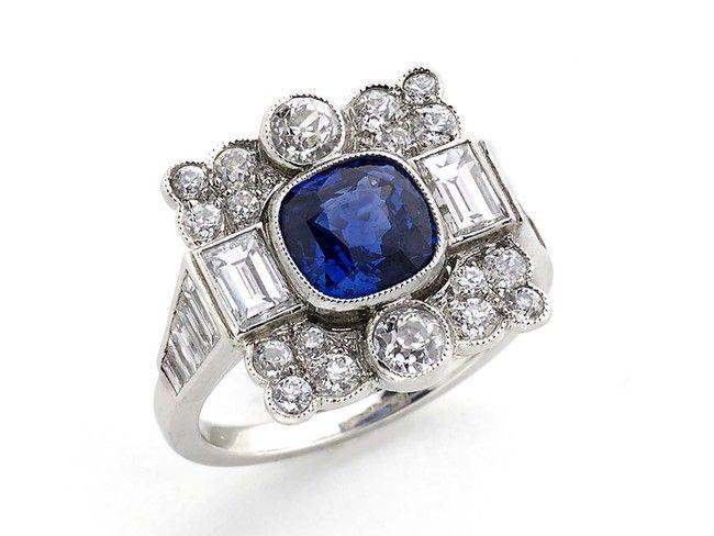 Art Deco sapphire and diamond ring - Moira Fine Jewellery