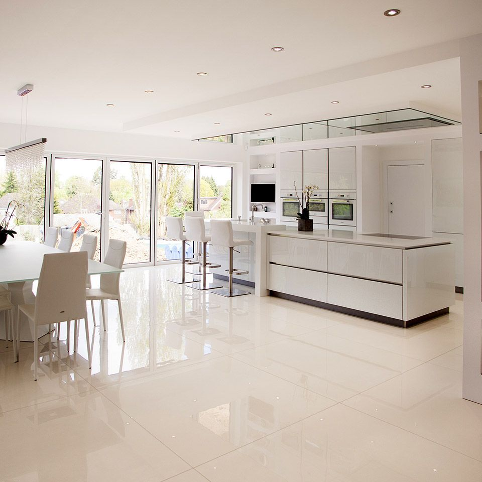 If white large format polished tiles are your thing leave
