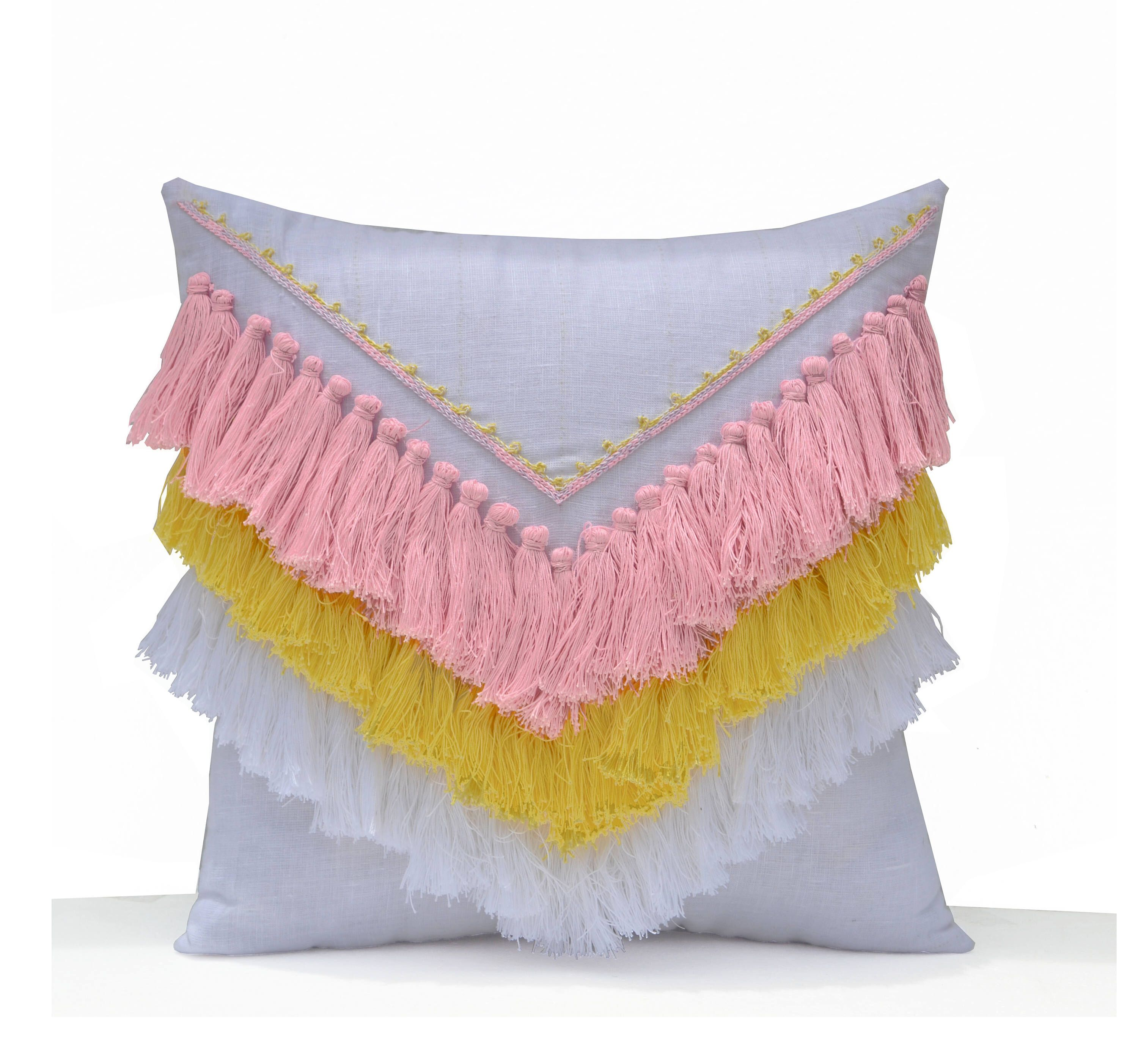 Items similar to Pink Yellow Shaggy Pillow, Boho Pillow Cover, Geometric Decorative Pillow Cover, tassel pillow, Dorm Pillow, Best Friend Gift, Gift For Her on Etsy
